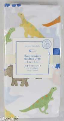 Pottery Barn Kids - Dino Madras Crib Fitted Sheet - Dinosaurs Toddler NWT