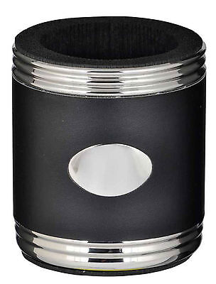 Visol Black Leather Stainless Steel Can Holder, New in Box