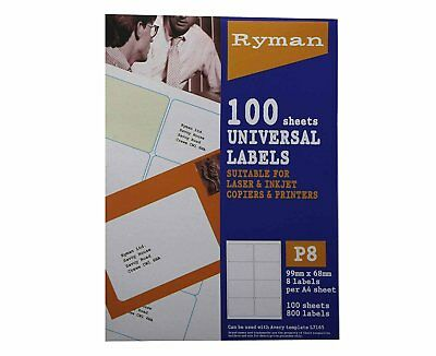 Ryman address labels p8 universal 68x99mm 8 per a4 sheet 100 sheets