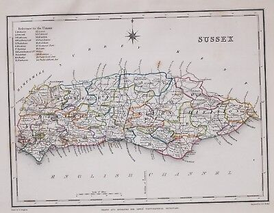 1845 ORIGINAL ANTIQUE COUNTY MAP SUSSEX HAND COLOURED by CREIGHTON & LEWIS