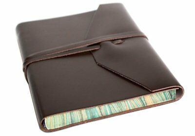 Positano Large Chocolate Handmade Leather Wrap Journal, Plain Pages 21cm x 15cm