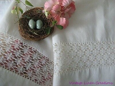 AnTiQuE LINEN & LACE Bridal White PILLOWCASES PR *ULTRA DELICATE LACY Spiderweb