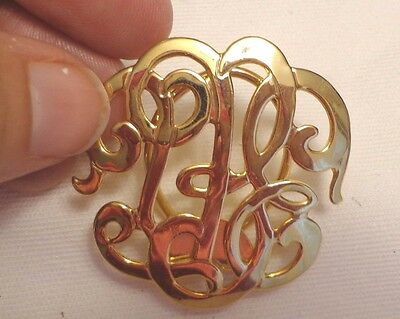 Vintage 1980S Gold Tone Ornate Swirl Scarf Clip