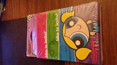 2002 THE POWERPUFF GIRLS 8 Party INVITATIONS Cards Envelopes Cartoon Network NOS