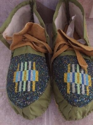 Native American Full Bead Moose Hide Moccasins, Green, Gold Blue Metallic