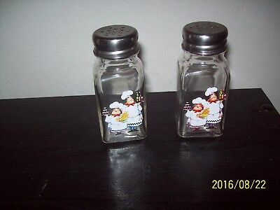 Vintage Glass Salt & Pepper Shakers with Chef Stainless Steel Lids