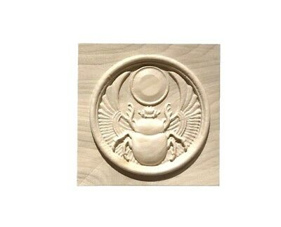Egyptian Winged Scarab Beetle Solid Hardwood Rosette / Casing Blocks