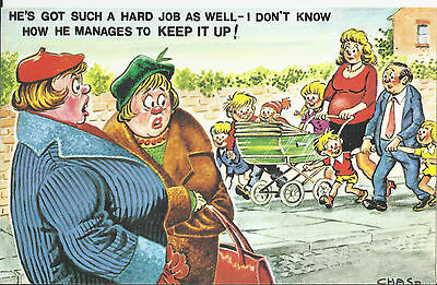 Vintage 1970's Bamforth COMIC Postcard (as new cond.) Manages to keep up #482