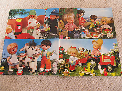 "4 Lovely Vintage 1970's Bamforth ""PUPPET"" series Postcards - unused"