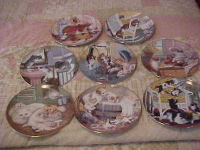 Hamilton Collection Country Kitties Collector Plates Complete Set Of 8 1988
