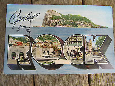 Vintage Foldout Novelty Postcard, Greetings From the ROCK - Gibraltar