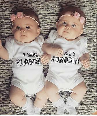 Newborn Baby Boys Girls Sister Brother Twins Romper Bodysuit Matching Outfits