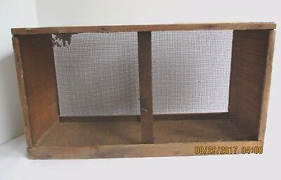"""Antique Primitive Wood Mesh Wire Grain Sifter Sieve Country Farm 16""""x 9"""""""
