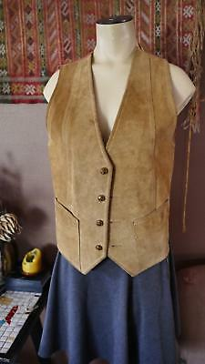 VINTAGE 70s  WESTERN BROWN LEATHER SUIT VEST boho hippie RANCHER MOTORCYCLE USA