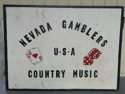 """vintage wooden  nevada gamblers/music sign(wooden) 48""""×36""""×1/4"""" heavy"""