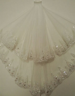 2T White/Ivory Bridal Veil With Comb Sequin Wedding Accessories Elbow Lace Edge