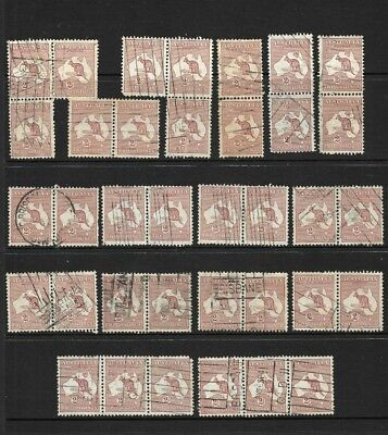 Australia Pre-Decimal 2/- 'Kangaroo ' strips of 3 & pairs, (36) good/ fine used