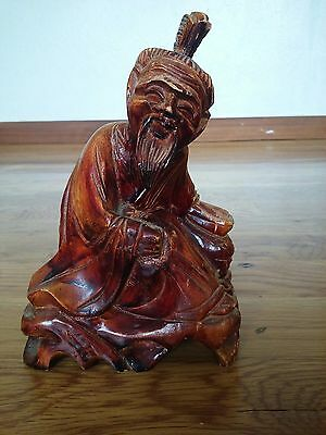 Vintage carving Asian Chinese Japanese wood hand carved figurine man.