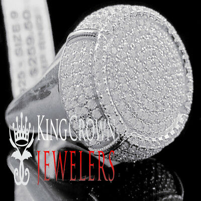 Mens Real White Gold On Silver Big Bold Lab Diamond Champagne Bottle Pinky Ring