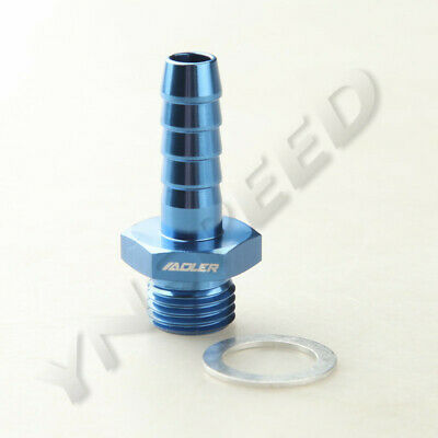 """M14X1.5 To 3/8"""" (9.5mm) Metric To Barb Fitting Adapter Bosch Fuel Pump Blue"""
