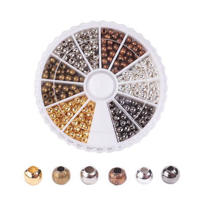 480pcs/Box Round Iron Smooth Spacer Beads 6 Color Tiny Loose Metal Beads 3.2x3mm