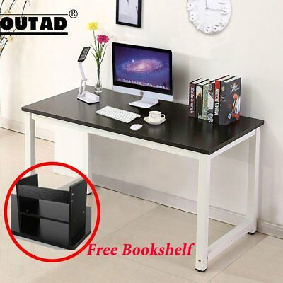 Computer Desk Black Wood PC Laptop Table Workstation Home Office Furniture FB