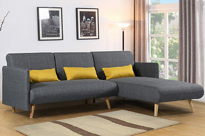 Modern Grey Charcoal Fabric Sofa Bed L Shaped Corner Scandi Style Chaise