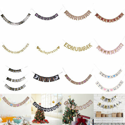 Bunting Banner Gold Letters Hanging String Flags Party Wedding Birthday Decor