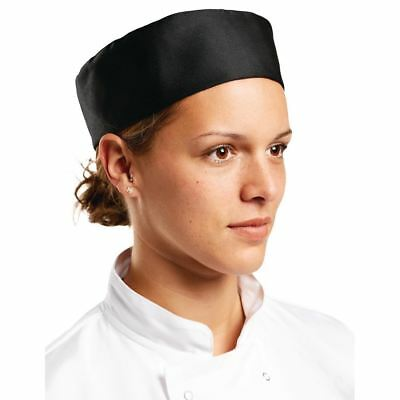 Whites Chefs Apparel Skull Cap Black L Polycotton Hat Kitchen Catering Headwear