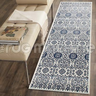 TYCHE IVORY GREY BLUE AZTEC ANTIQUE STYLE TRADITIONAL RUG RUNNER 80x500cm **NEW*