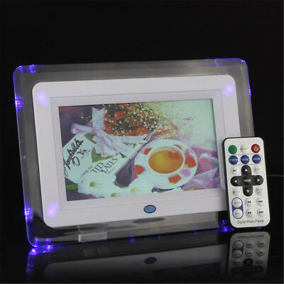 "7"" TFT-LCD Digital Photo Frame Movies Slideshow Alarm Clock MP4 Player Remote"