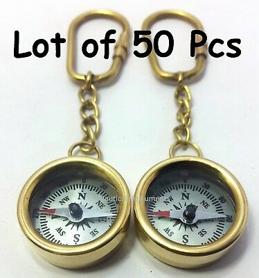 Lot  OF 50  VINTAGE STYLE SOLID BRASS POLISH FINISHED POCKET COMPASS KEY CHAIN