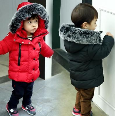 Kids Boys Girls quilted jacket Coat Fur Hooded Cotton Padded Down Parkas Jacket