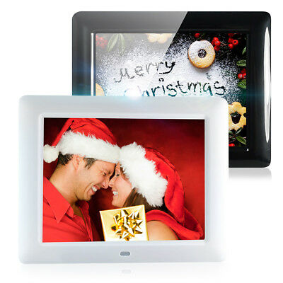 "Digital TFT-LCD Photo Frame 8"" HD Movies Alarm Clock MP3 MP4 Player w/ Remote UK"