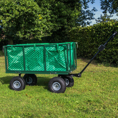 Extra Large Heavy Duty Garden Trailer Trolley Cart With Lining Outdoor Tool