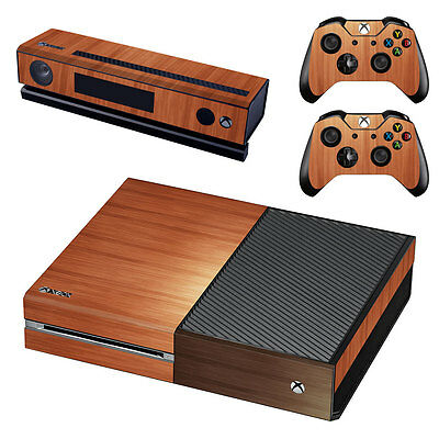 XBox One Console Skin Sticker Protector New Wood Look + 2 Controllers