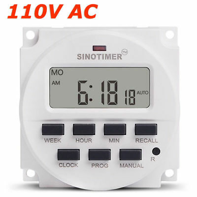 SINOTIMER TM618N-1 15.98 Inch LCD DISPLAY Timer 110V AC Programmable Time Switch