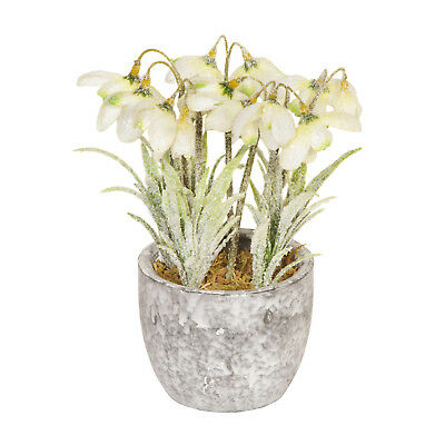 Artificial Frosted snowdrops In A Ceramic Pot - 18cm - Christmas Potted Plants
