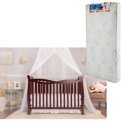 Convertible Baby Crib 7 in 1 With Mattress Violet Toddler Kid Nursery Bed Cherry