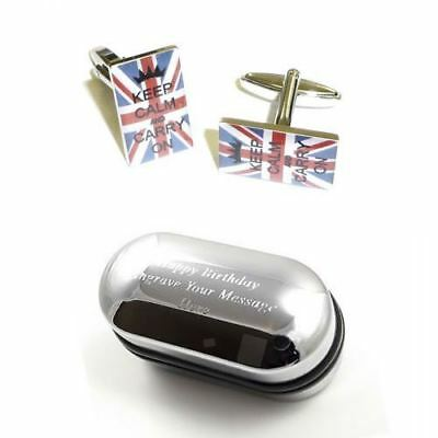 Keep Calm & Carry on Union Jack Cufflinks & Engraved Gift Box