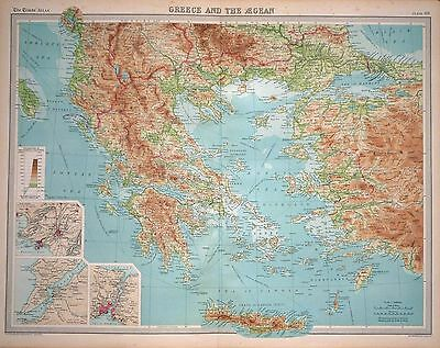 "1920 LARGE MAP ~ GREECE & THE AEGEAN ~ INSET ENVIRONS ATHENS  23"" x 18"""