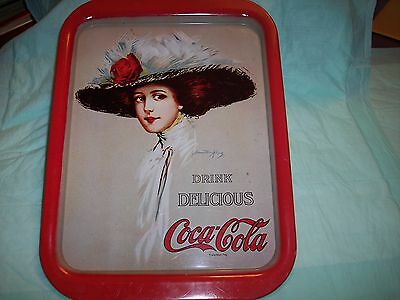 Coca Cola Coke tin tray with lady wearing a hat