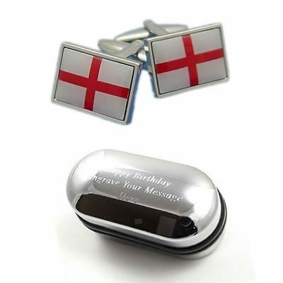 UK England St George Cross Flag Cufflinks with Border & Engraved Gift Box