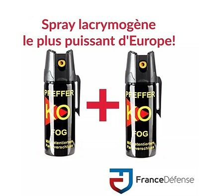 Bombe Lacrymogene pack Spray de défense 50 ml Gaz CS + 50 ml Gaz CS KOFOG