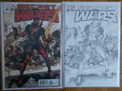 Deadpool Secret Secret Wars 1 Forbidden Planet Sketch Variant plus original
