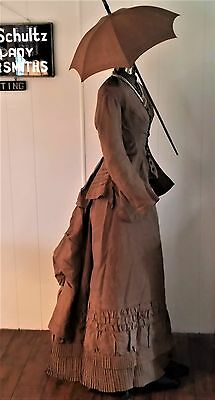 Antique Early Orig Brown Victorian Bustle Dress W Umbrella Parasol 3 Pcs