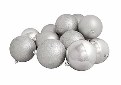 Northlight 16 Count Silver Splendor Shatterproof 4-Finish Christmas Ball
