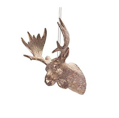 "4.75"" Luxury Lodge Bronze Tone Moose Head with Antlers Christmas Ornament"