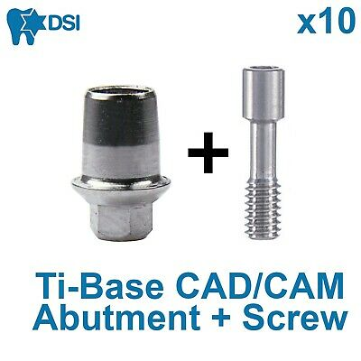 10x Dental CAD/CAM Ti-Base abutment Int Hex Implant Amann Girrbach Compatible