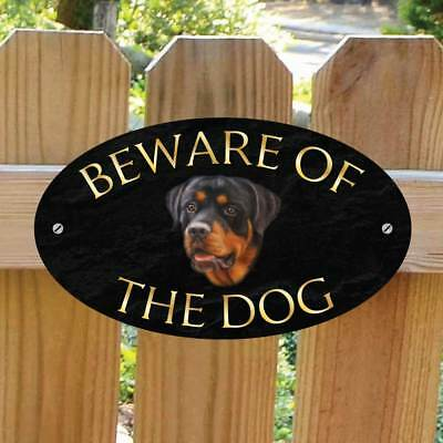 Beware of the Rottweiler Gate Sign, Robust Outdoor Beware of the Dog Gate Plaque